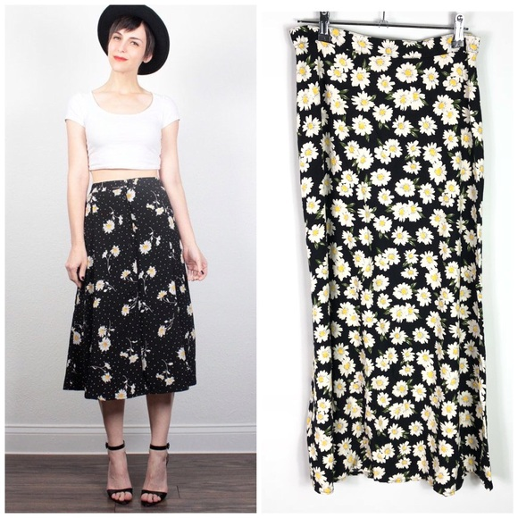 ee210dfb7 Vintage Skirts | 90s Daisy Midi Skirt Black Floral Rayon | Poshmark